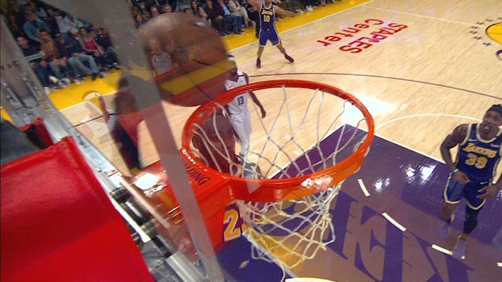 LeBron gets denied by the rim