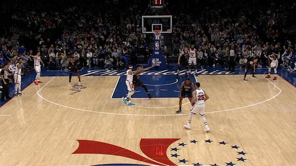 76ers have six men on the floor, Korkmaz's triple negated