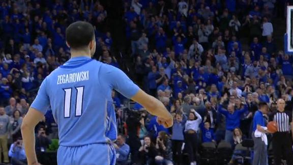 Creighton guard celebrates clutch 3 with McGregor walk