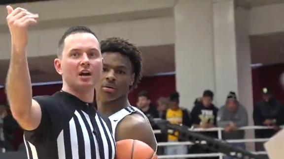 Debris from crowd hits Bronny James at Hoophall Classic
