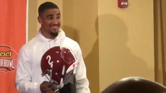 Hurts honors Bama, Oklahoma with double-sided helmet for Senior Bowl