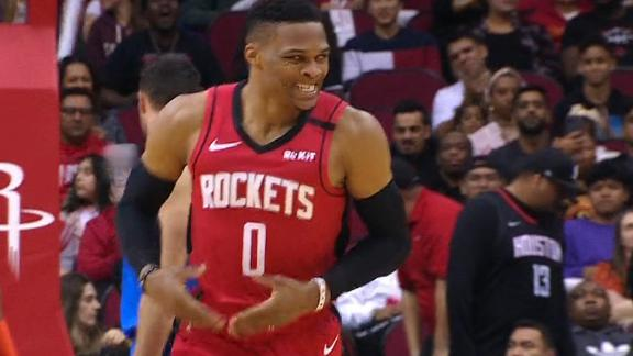 Westbrook rocks the baby after scoring