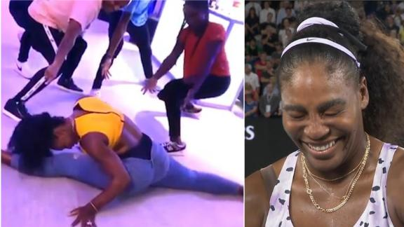 Serena reacts to her dance with Coco Gauff