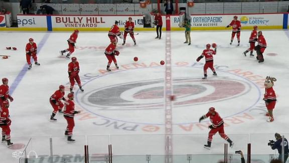 Hurricanes celebrate victory with dodgeball on ice