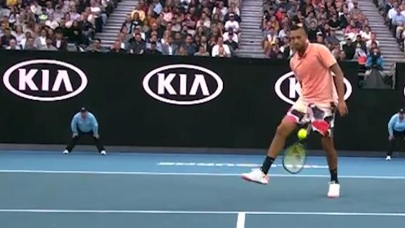 Kyrgios flamboyant as always with trick shot