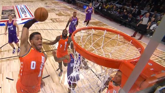 Bridges goes off the backboard for incredible slam