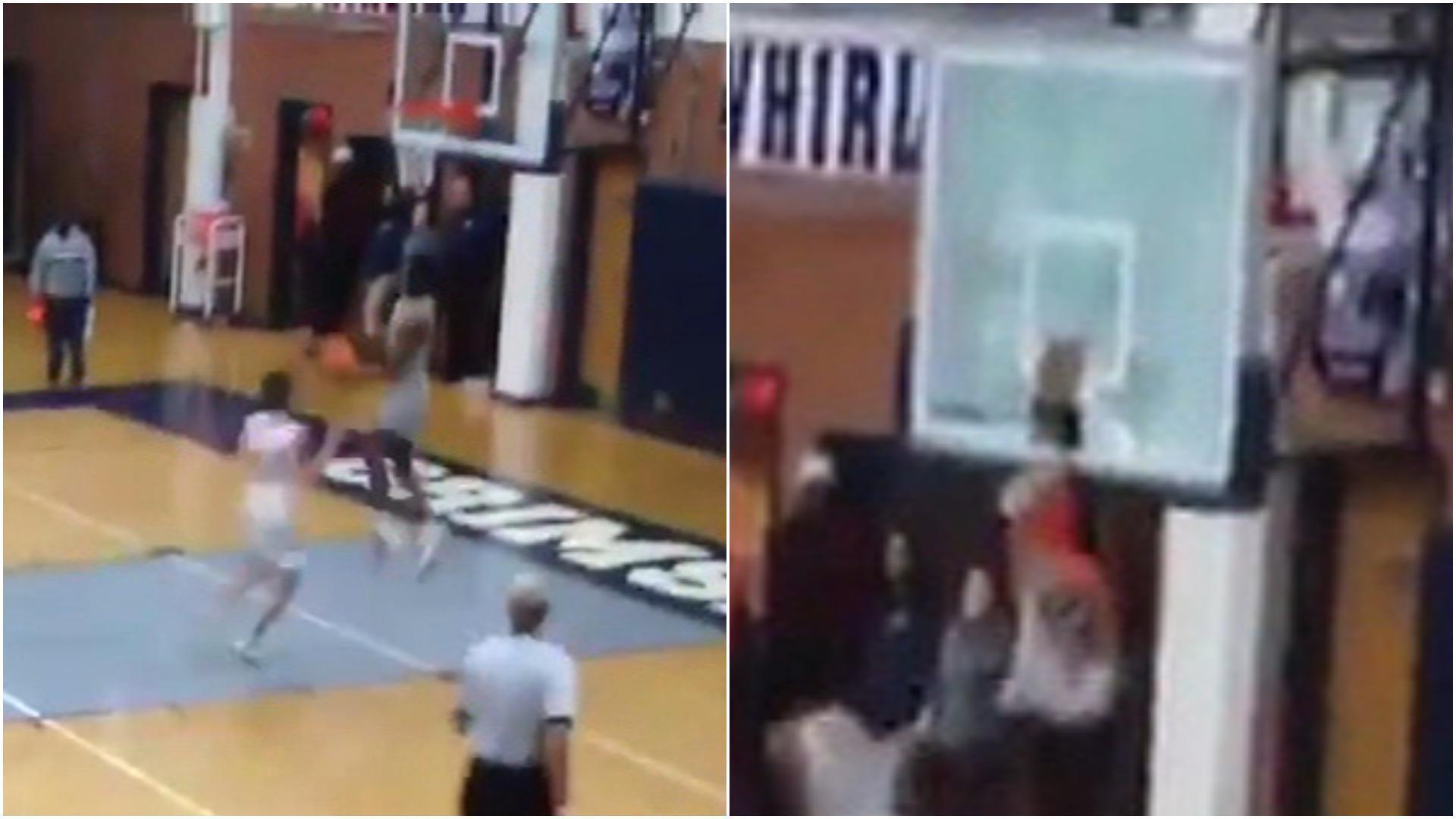 High schooler shatters backboard with huge dunk