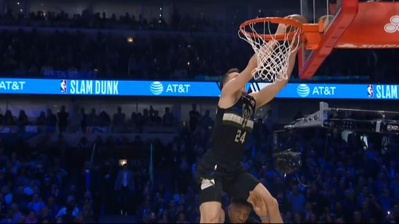 Connaughton leaps over Giannis, taps backboard in impressive dunk