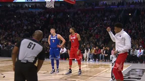 Giannis tries to distract Russ at the FT line