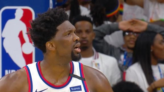 Embiid fired up after block sends game to OT