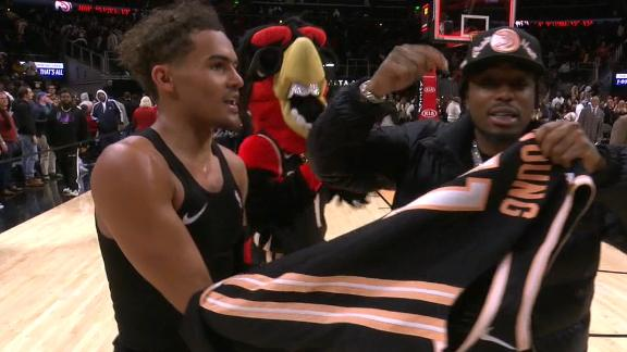 Trae gives Quavo his jersey after dropping 50