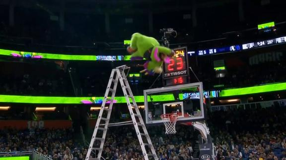 Magic mascot backflips off ladder for dunk