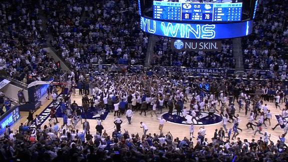BYU fans storm court after upsetting No. 2 Gonzaga