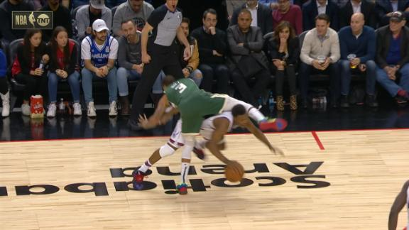 Lowry tries to go under Hill, called for offensive foul