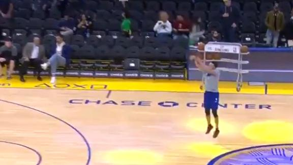 Steph drains shots from logo in workout