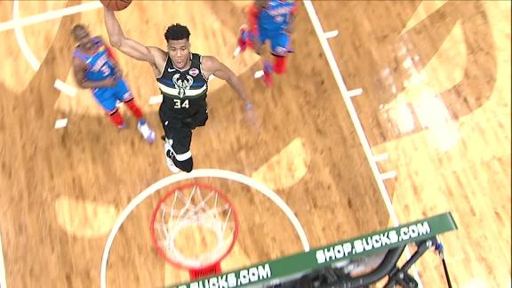 Giannis soars to the rim for the dunk