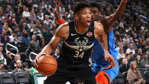 Giannis' double-double in 27 minutes leads Bucks to 47-point win