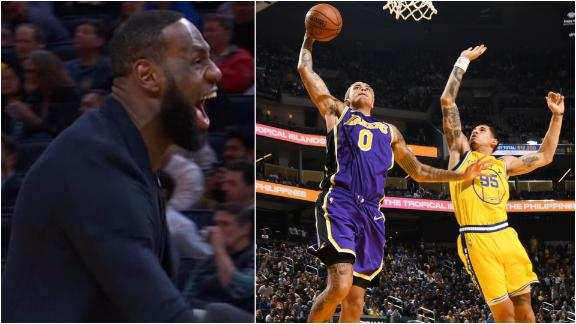 LeBron gets fired up for AD's ridiculous save, Kuzma's and-1 slam