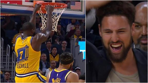 Paschall slams on McGee and Klay loves it