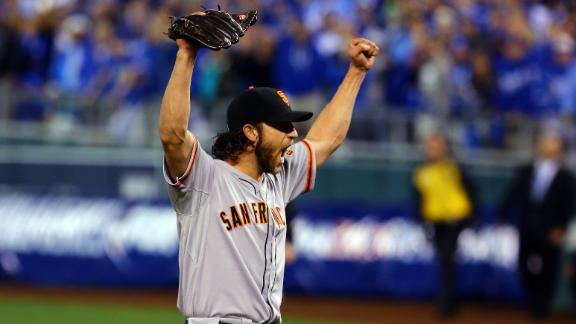 Bumgarner shuts Royals down in 2014 WS on short rest