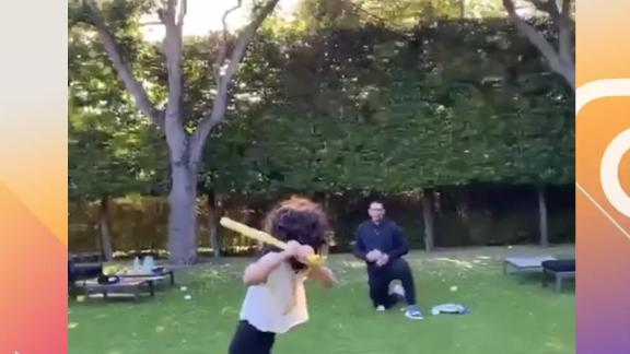 A-Rod plays backyard baseball with J-Lo's daughter