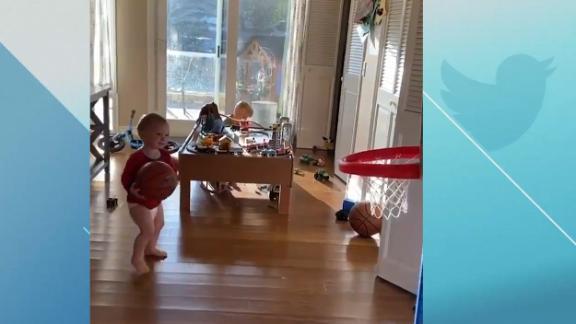 Baby gets buckets in quarantine