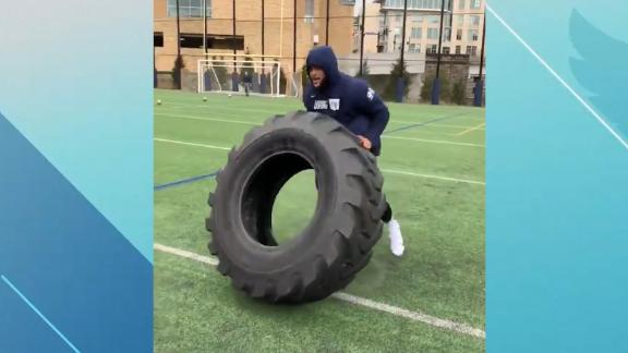 Rams' Donald putting in work with tire workout