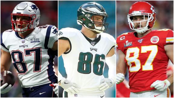 Gronk, Kelce and Ertz dominate the TE position