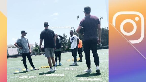 Darnold, Barkley, McCaffrey and Allen link up for workout