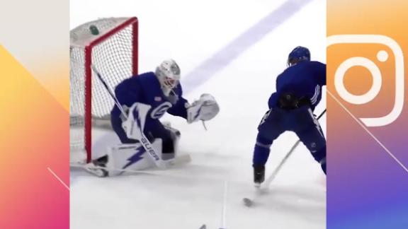 Blake Coleman looks ready for the playoffs with this between-the-legs goal
