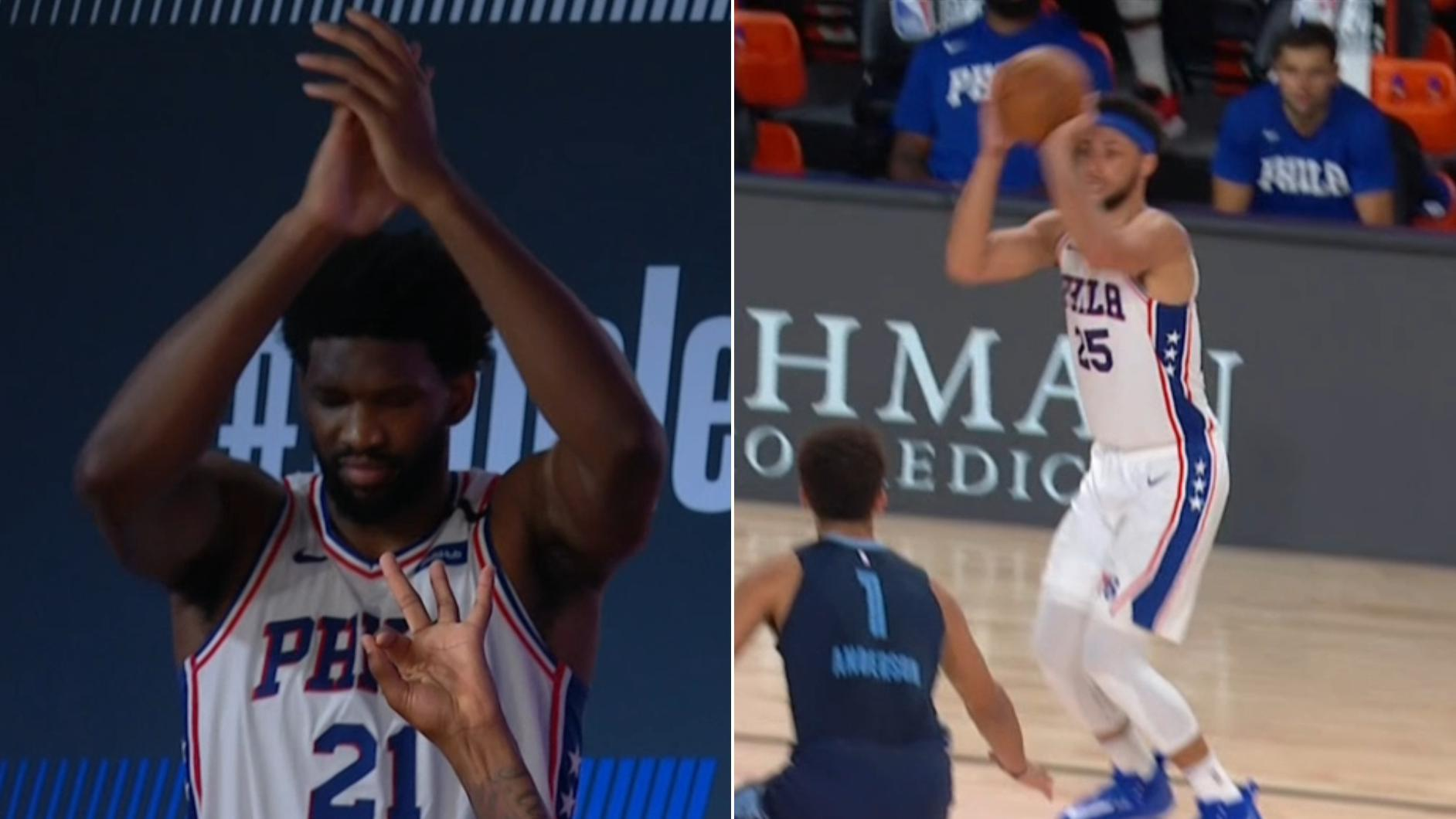 Simmons gets standing ovation from Embiid after hitting a 3