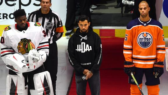 Matt Dumba delivers powerful message before Blackhawks vs. Oilers