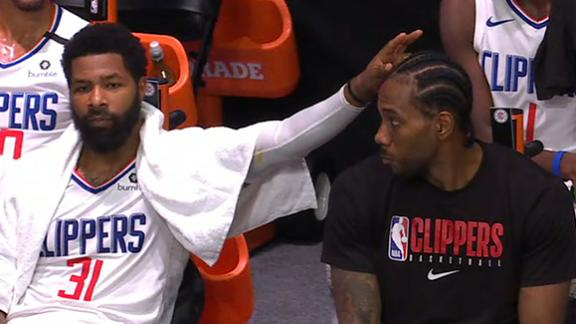Kawhi unamused by Marcus Morris' bunny ears attempt