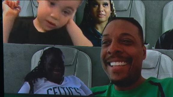 Pierce, Tatum's son in the virtual crowd watching the Celtics