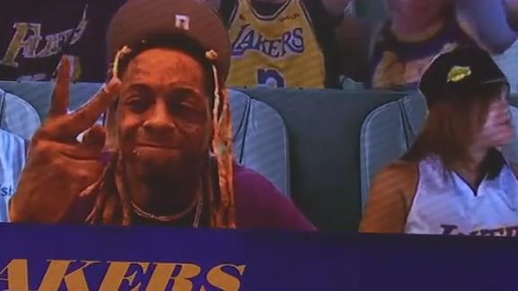 Lil Wayne spotted in Lakers' virtual crowd