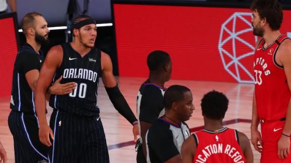 Lowry, AG jaw at one another after hard foul