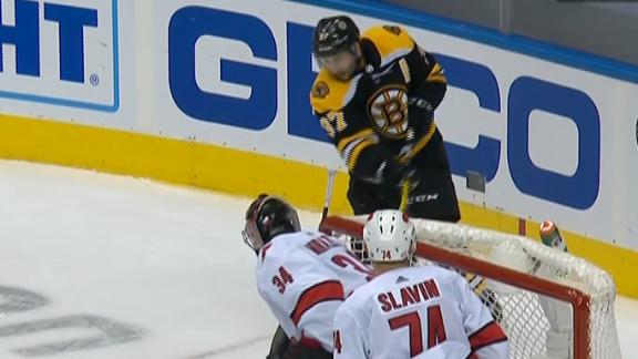 Bergeron scores nice goal from behind the net to help Bruins advance
