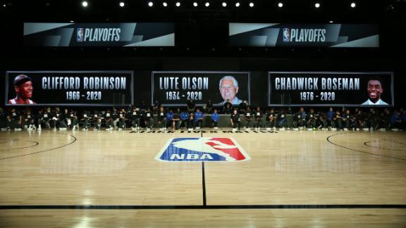 Moment of silence for Robinson, Olson, and Boseman before Magic-Bucks