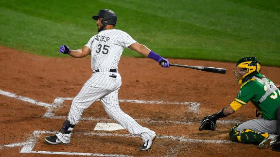 Diaz 2-run homer gives the Rockies the lead
