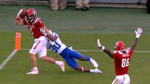 NC State WR makes incredible helmet catch on deflected pass