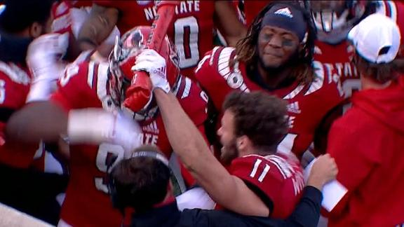 NC State's Wilson sprints to sideline to collect turnover bone