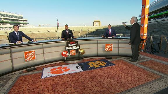 Lee Corso makes a holographic appearance on College GameDay set