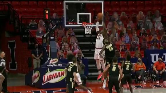 Dosunmu to Cockburn for the high-lob alley-oop