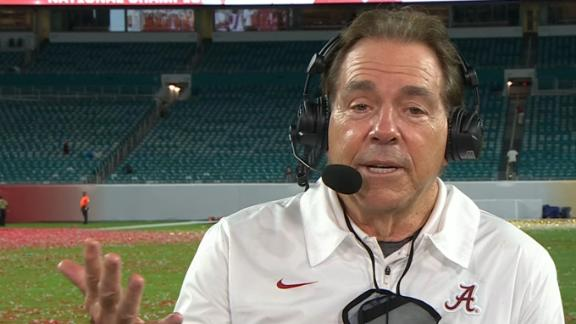 Nick Saban reacts to winning a record seventh title
