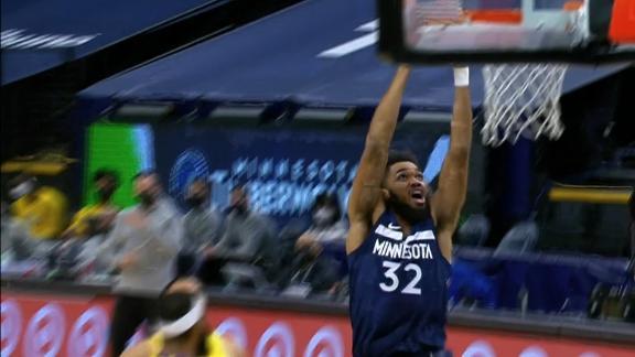 KAT fools Harrell to earn easy dunk