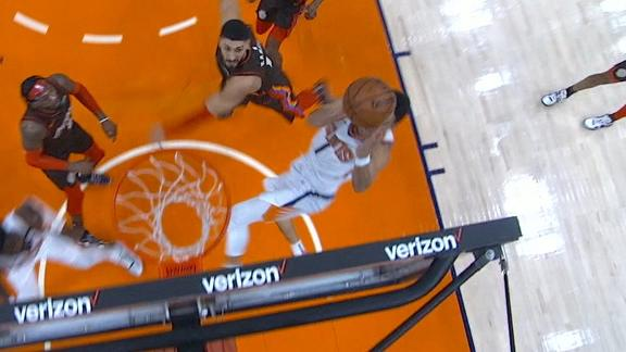 Booker drives in for an unbelievable and-1 bucket
