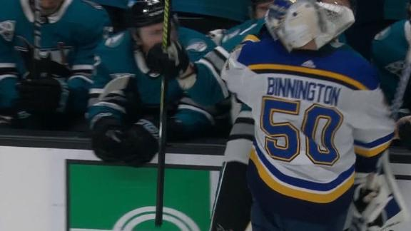 Binnington goes after 3 Sharks players on his way out