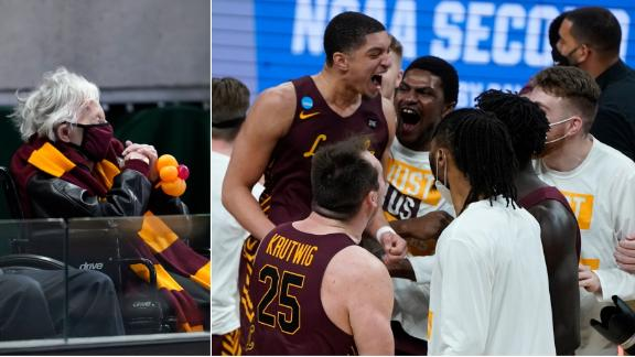 Sister Jean and Loyola Chicago celebrate the upset over No. 1 seed Illinois