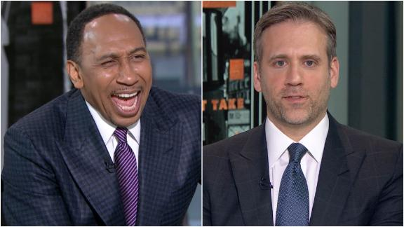 Stephen A. can't contain his laughter after Max picks Giants to win NFC East