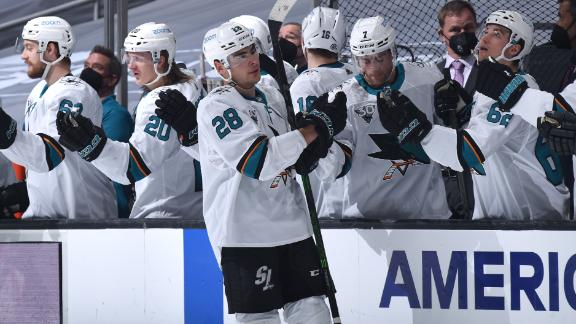 Meier rips one top corner in Sharks' shutout win